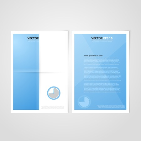 Flyer template back and front design. Brochure design templates collection with blue paper Vector