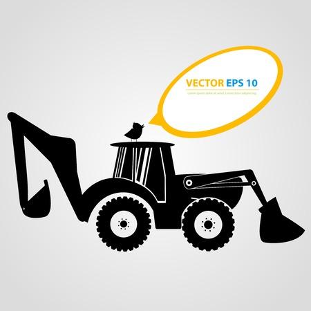 Vecteur isolé icônes du tracteur. Silhouettes noires automobiles