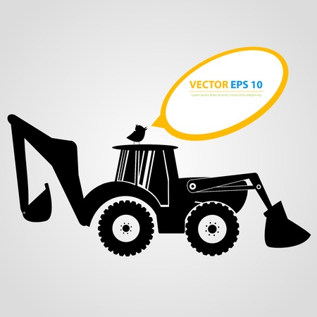 skid loader: Vector isolated tractor icons. Black auto silhouettes  Illustration