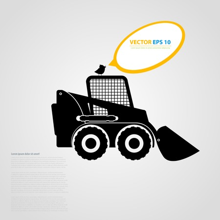 skid loader: tractor icons. Black auto silhouettes  Illustration