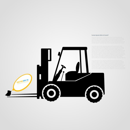 skid steer: Vector isolated tractor icons. Black auto silhouettes with twitter bird Illustration