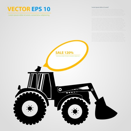 skid steer loader: tractor icons. Black auto silhouettes  Illustration