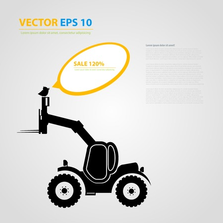 skid steer: tractor icons. Black auto silhouettes