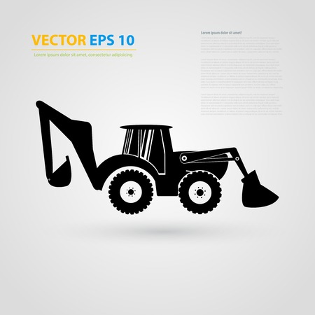 skid steer loader: tractor icons. Black auto silhouettes. Illustration