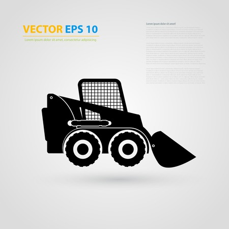 skid: tractor icons. Black auto silhouettes. Illustration
