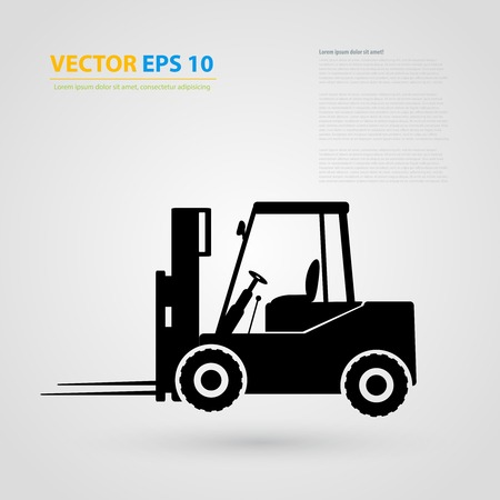 backhoe loader: tractor icons. Black auto silhouettes. Illustration