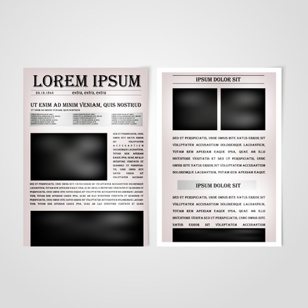 news paper: Flyer template back and front design. Brochure design templates collection with newspaper