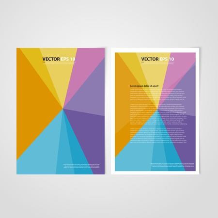 Flyer template back and front design. Brochure design templates collection with color paper Vector