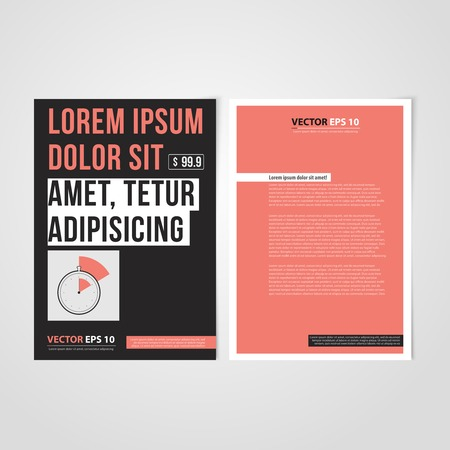 Flyer template back and front design. Brochure design templates collection with time management Vector