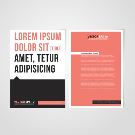 brochure layout: Flyer template back and front design. Brochure design templates collection with red paper Illustration