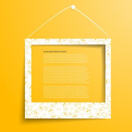 Cadre blanc sur le mur jaune Banque d'images - 32435508
