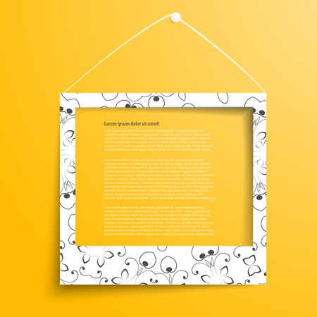 boarder: white frame on the yellow wall