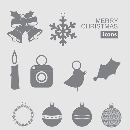 Christmas and New Year icon silhouette Vector