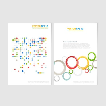 Flyer template back and front design Brochure templates collection with color circles Vector