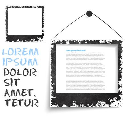 Black grunge frame on a wall vector background design. Picture frame Vector