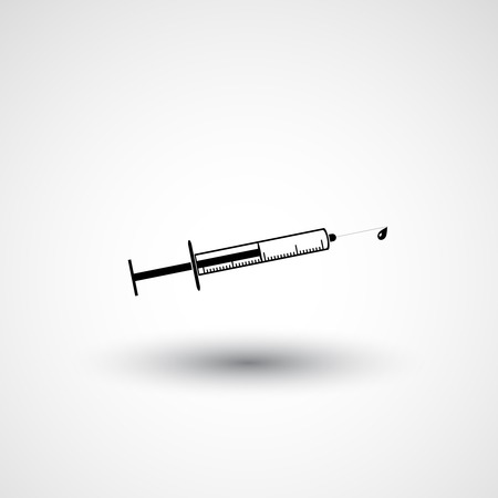 an injector: Vector plane logo syringe. Black sign isolated