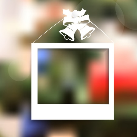 christmas photo frame: Vector Winter Christmas Blurred  Brochure design templates collection  with photo frame