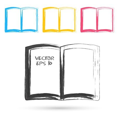 bible ouverte: Vecteur croquis de style des ic�nes de livre. �l�ment de conception grunge Illustration