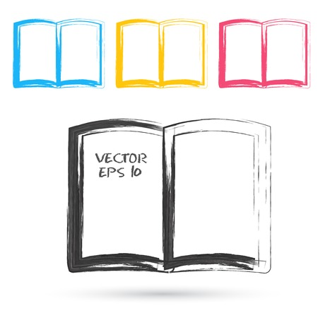 open diary: Vector sketch style of book icons. Design grunge element