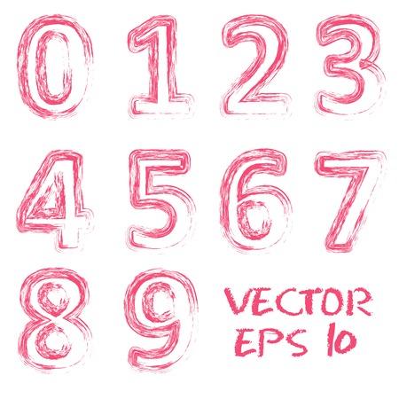 Vector red handwritten numbers.  Vector set Illustration. Vector
