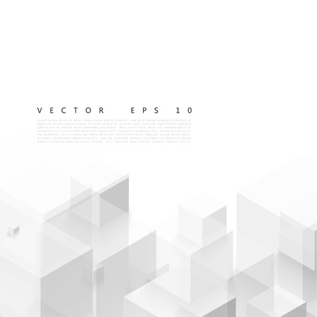 on white  background: Forma geom�trica vectorial abstracto de cubos grises.