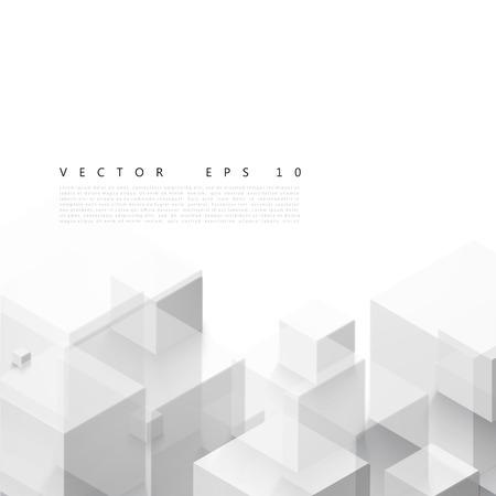 Forma geométrica vectorial abstracto de cubos grises. Foto de archivo - 35859281