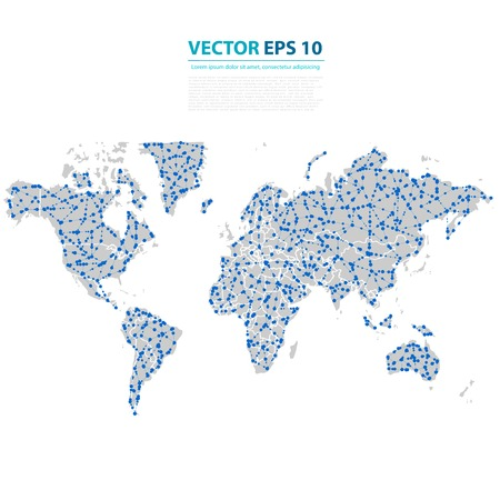 Vector Abstract Telecommunication Earth Map. Vector