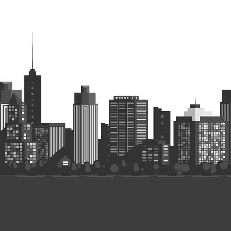 down town: Vector Seamless modern city.