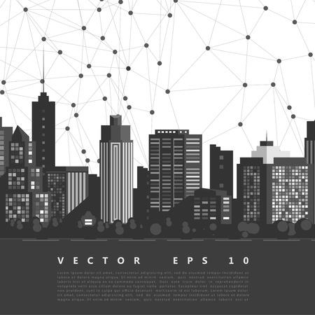 down town: Vector modern city. Illustration