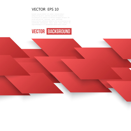 red shape: Abstract geometric shape from red lines. Illustration