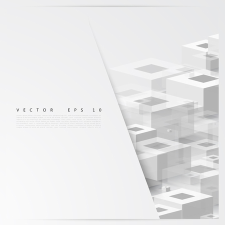 architecture design: Vector Abstract geometric shape from cubes. squares