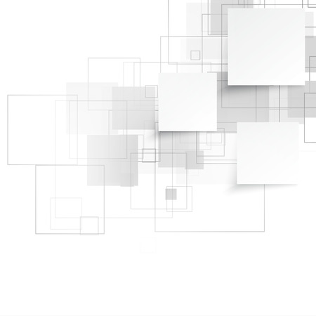Vector white squares. Abstract background. Gray blank