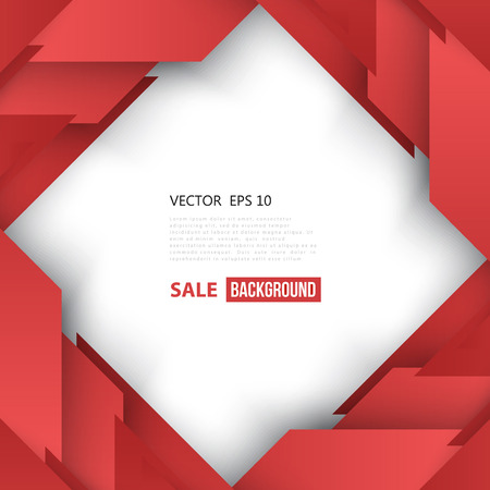 square shape: Vector Abstract geometric shape from red diagonal