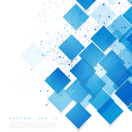 Vector blue squares. Abstract background. Sky blank