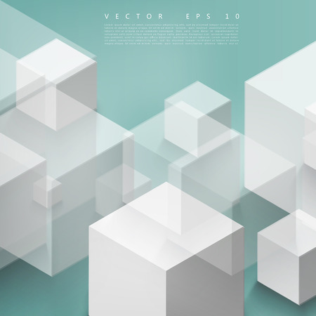 white cube: Vector Abstract geometric shape from gray cubes. Turquoise squares