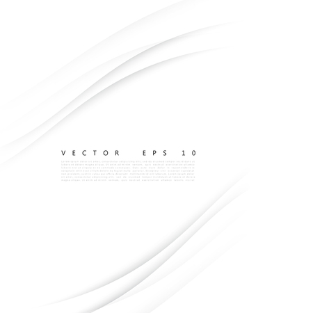 Vector white of wavy banner. Gray background