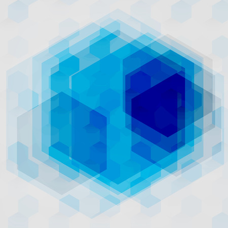 color image: Vector Abstract geometric shape from color cubes. Turquoise squares