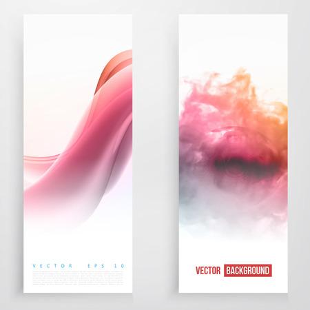 pink smoke: Set of wavy banners. Set of smoke color banners Illustration