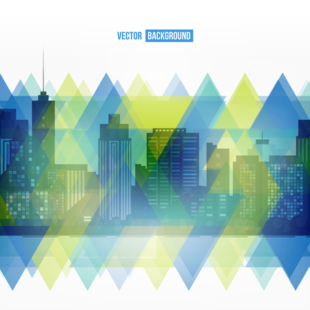 urban art: Vector modern city. Stained-glass window. Cityscape background for your design, urban art. Buildings