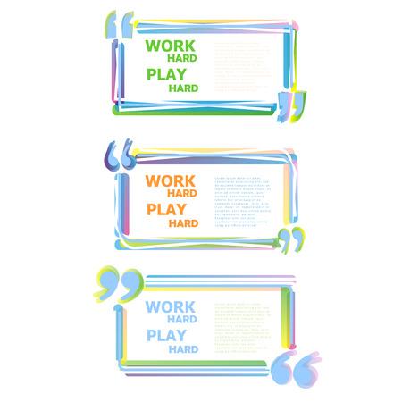 citing: Color Motivation Quote. Quote text bubbles. Icon Illustration