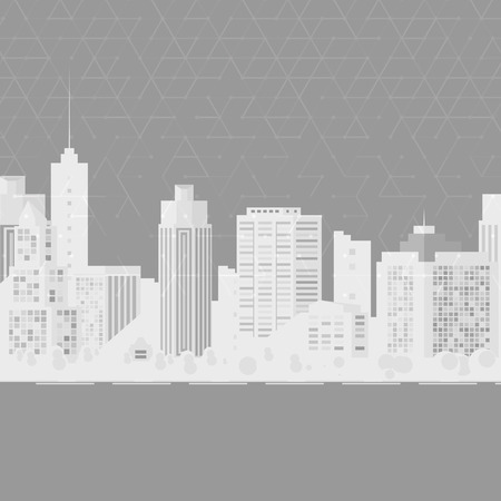 down town: Vector modern city. Cityscape background for your design, urban art. Buildings