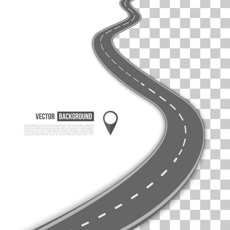 Vector path on the road. Background infographic