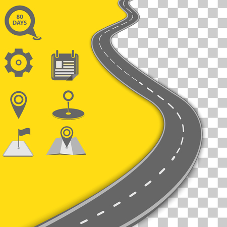 Vector path on the road. Background infographic Illustration