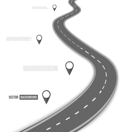 path: Vector path on the road. Background infographic Illustration