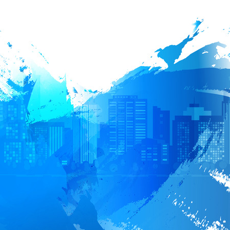 down town: Vector Bright watercolor stains. Blue ink and splatter