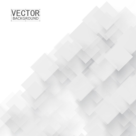 white background abstract: Vector white squares. Abstract grey background. Shadow