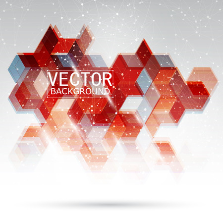 Vector Abstract Design Hexagonal Background. Red and blue Vectores