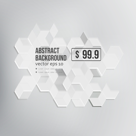 white background abstract: Vector Abstract Design Hexagonal Background. Grey and white