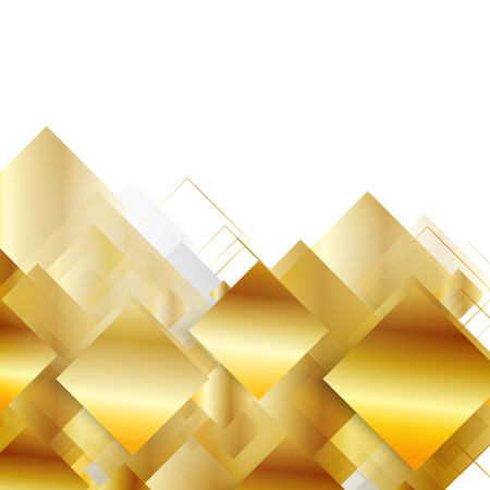 square abstract: Vector abstract geometric gold background. Yellow square Illustration