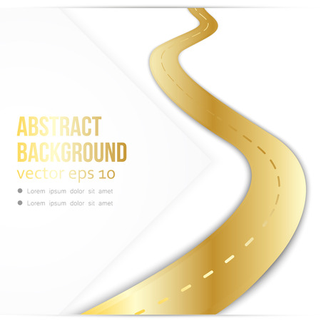 Vector path on the road. Background infographic. Golden path leading to success Vetores